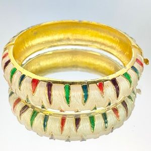 Park Lane Colored Enamel Gold Tone Hinged Bracelet